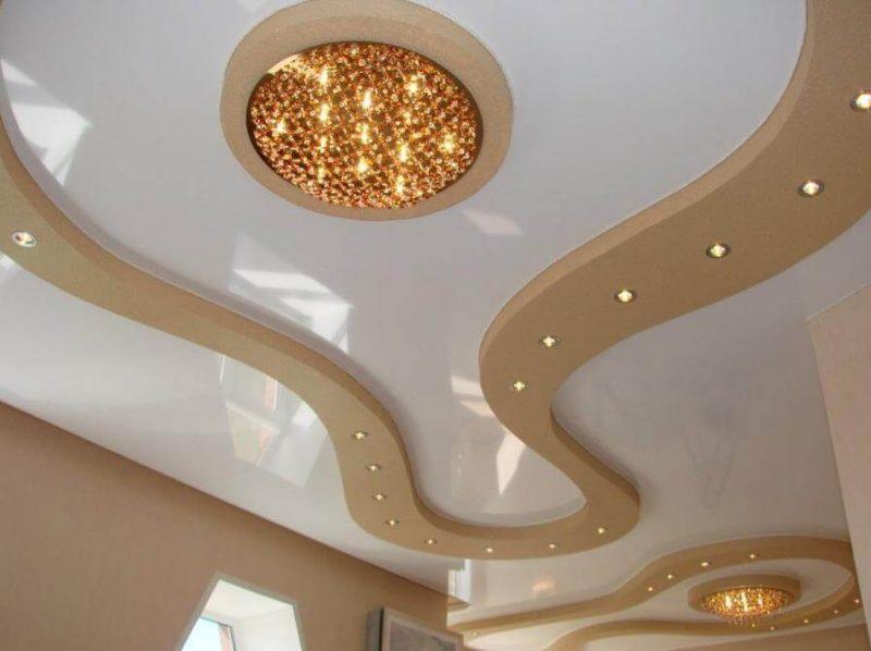 Потолок сложные формы с подсветкой